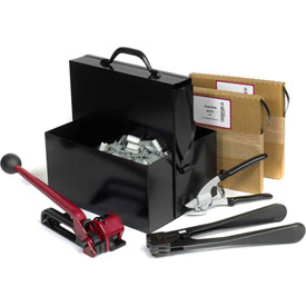 """Steel Strapping Kit With Two 5/8"""" x 200' Coils, Tensioner, Sealer, Cutter & Case"""
