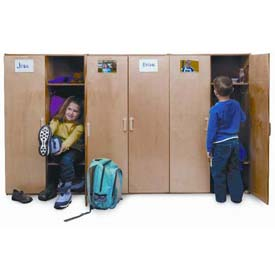 Wood Finished Kids Coat Lockers With Doors