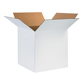"White Cardboard Corrugated Box 12"" x 12"" x 10"" 200lb. Test/ECT-32 - 25 Pack"