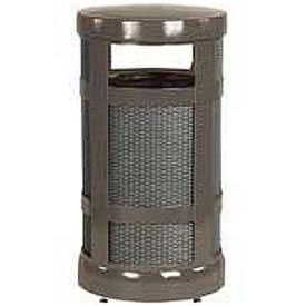 "Radius Top Trash Receptacle, Bronze, 17 gallon capacity, 18"" Dia x 34""H."