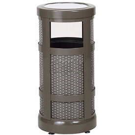 "Combo Sand Top Urn And Trash Receptacle, Bronze, 5 gal. capacity, 12"" Dia x 24""H"
