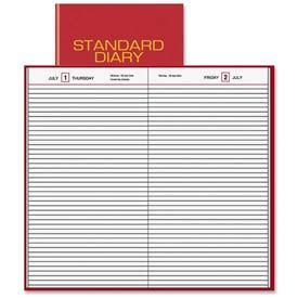 "Daily Business Diary, Jan-Dec, 1PPD, 7-1/2""x9-7/16""Pg Sz, Red"
