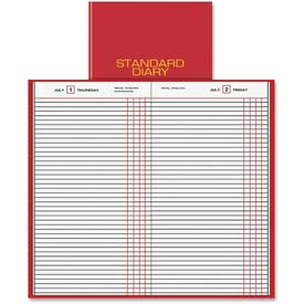 "Daily Journal, Jan-Dec, 1PPD, 7-11/16""x12-1/4""Page Size, Red"