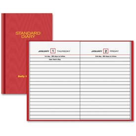 "Daily Reminder Business Diary, Jan-Dec, 1PPD, 4-3/16""x6-1/2"", Red"