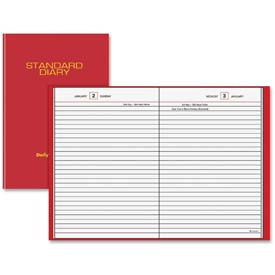 "Daily Reminder Business Diary, Jan-Dec, 1PPD, 5-3/4""x8-1/4"", Red"