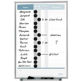 "Quartet® Matrix® In/Out Board, 11""W X 16""H, Magnetic, Track Up To 15 Employees"
