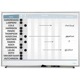 "Quartet® Matrix® In/Out Board, 23""W X 16""H, Magnetic, Track Up To 15 Employees"