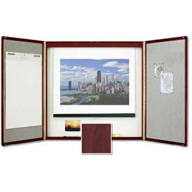 "Quartet® Premium Conference Room Cabinet, 48""W x 48""H, Whiteboard/Screen, Mahogany"