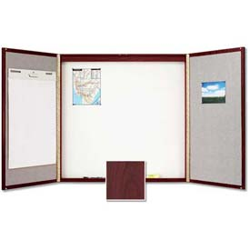 "Quartet® Laminate Conference Room Cabinet, 48""W x 48""H, Whiteboard/Bulletin, Mahogany"