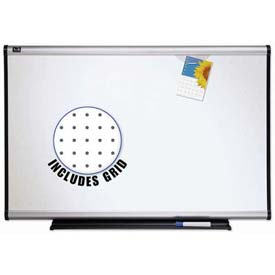 "Quartet® Prestige® Total Erase® Whiteboard, 96""W x 48""H, Aluminum, Writing Grid"