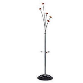 Festival Coat Tree with Five Knob Costumer & Umbrella Stand, Gray/Mahogany