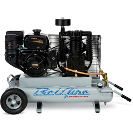 Belaire 8090250708 Contractor Series Kohler Gasoline Driven Air Compressor, 14HP, 2 x 5 Gallon by