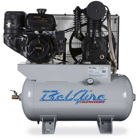 Belaire 8090253124 Iron Series Kohler Gasoline Driven Horizontal Air Compressor, 14HP, 30 Gallon by