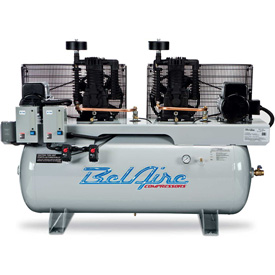 Belaire 8090253371 Iron Series Two Stage Horizontal Duplex Air Compressor, 2 x 5HP, 120 Gallon by