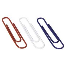 Acco® Jumbo Nylon-Coated Paper Clips, Assorted, 150/Box