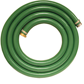 "1-1/2"" x 20' Green PVC Water Suction Hose Assembly Coupled w/ M x F Aluminum Short Shank Fittings"