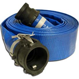 """1-1/2""""  x  50' PVC Lay Flat Discharge Hose Coupled w/ C x E Poly Cam & Groove Fittings"""