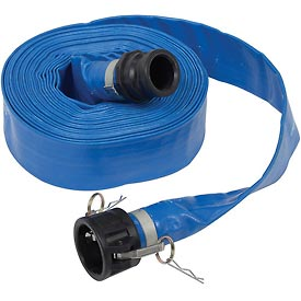 "Apache 98138049 2"" x 50' PVC Lay Flat Discharge Hose w/ C x E Poly Cam & Groove Fittings"