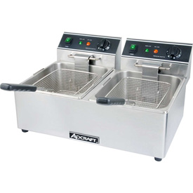 Adcraft DF-6L/2 Countertop Fryer, Electric, Double Tank, 120V by