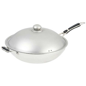 Adcraft IND-WOK Induction Ready Wok w/Cover, Premium, Stainless Steel by