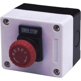 Advance Controls 104544, 1 Hole, Mushroom, E. Stop, 22mm Non Metallic Push Button Station, Momentary
