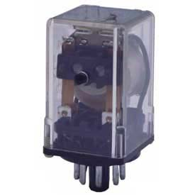 Advance Controls 105884, Relay, 97 Series, H Duty,  DPDT, Blade Terminal, Octal, Push Test, 24 VDC