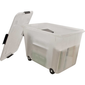 "Advantus® Mobile Storage Container 34009 - 15 Gallon 23-3/4""L x 15-3/4""W x 15-3/4""H Clear"