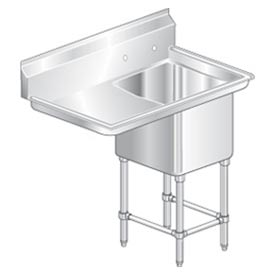 """One Bowl Aerospec SS NSF Sink with 30""""W Left Drainboard - 24""""Wx24""""D"""
