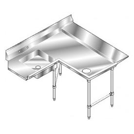 Aerospec SS NSF Soiled Shelf Island w/ Right Drainboard - 84 x 72