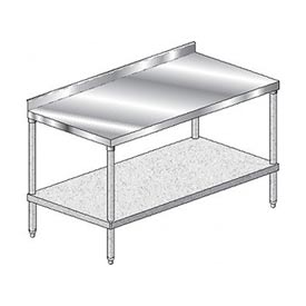 "Aero Manufacturing 2TGS-30144 144""W x 30""D Stainless Steel Workbench, 2-3/4"" Backsplash, Galv. Shelf"