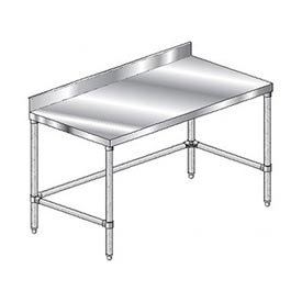 "Aero Manufacturing 2TSBX-3684 84""W x 36""D Stainless Steel Workbench 4"" Backsplash and Crossbracing"