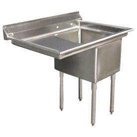 """One Bowl Deluxe SS NSF Sink with 18""""W Left Drainboard - 24""""Wx24""""D"""