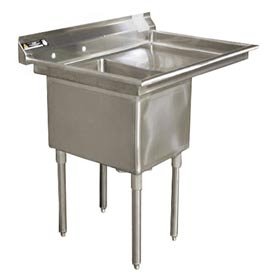 """One Bowl Deluxe SS NSF Sink with 36""""W Right Drainboard - 24""""Wx24""""D"""
