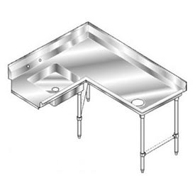 Deluxe SS NSF Soiled Corner w/ Right Drainboard - 84 x 60