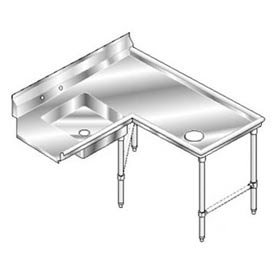 Deluxe SS NSF Soiled Island w/ Right Drainboard - 96 x 60