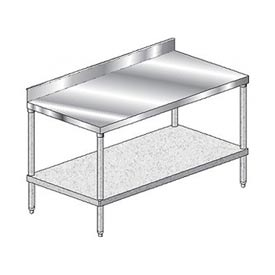 "Aero Manufacturing 3TGB-3048 48""W x 30""D Stainless Steel Workbench 4"" Backsplash"