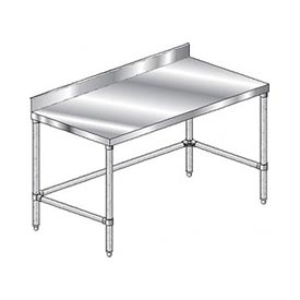 "Aero Manufacturing 3TGBX-24132 132""W x 24""D Stainless Steel Workbench 4"" Backsplash Galv."