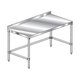 "Aero Manufacturing 3TGSX-24144 144""W x 24""D Stainless Steel Workbench with 2-3/4"" Backsplash"