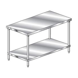"Aero Manufacturing 3TS-2472 72""W x 24""D Deluxe Flat Top Stainless Steel Workbench w/ Undershelf"