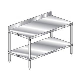 "Aero Manufacturing 3TSB-3696 96""W x 36""D Stainless Steel Workbench 4"" Backsplash SS Undershelf"