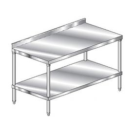 "Aero Manufacturing 3TSS-24132 132""W x 24""D Stainless Steel Workbench, 2-3/4"" Backsplash, SS Shelf"