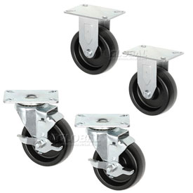 "Americraft Set of (4) 5"" Plate Casters 2 With Brake for Man Coolers CAS-2"