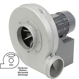 Americraft Aluminum Blower, HADP12-2-T-TE-CWBH, 2 HP, 3 PH, TEFC, CW, Bottom Horizontal