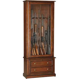 American Furniture Classics 800 Wood Classic 2 Drawers Gun Storage Cabinet, 8 Long Guns