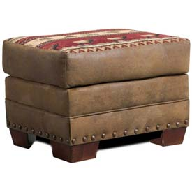 American Furniture Classics Sierra Lodge Ottoman, 100% Cotton Tapestry