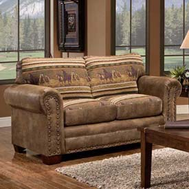 American Furniture Classics Wild Horses Loveseat, 100% Cotton Tapestry