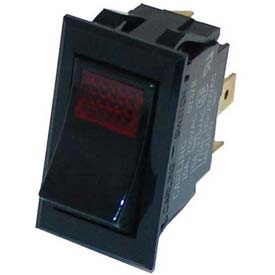 Rocker Switch, 250V, 20A, Black W/Red Light, For Star, 2E-70411