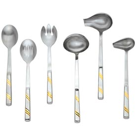 Alegacy 112GD Goldcrest Slotted Stainless Steel Serving Spoon, Gold Trim Package Count 12 by