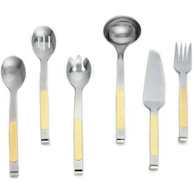 Alegacy 211GD Orbit Solid Stainless Steel Serving Spoon, Gold Trim Package Count 12 by