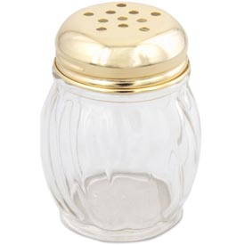 Alegacy 802XGDZ 6 Oz. Cheese Shaker Gold Top, Swirl Glass 12 Pack by